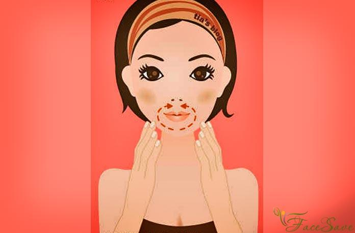 Прорабатываем зону вокруг губ